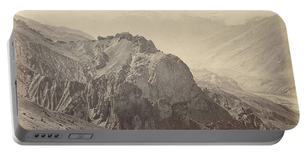 Nature Portable Battery Charger featuring the painting View Of The Mountains Of The Himalayas, Samuel Bourne, 1866 by Artistic Panda