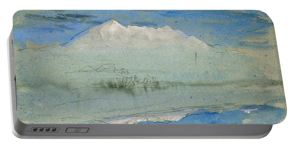 John Ruskin Portable Battery Charger featuring the drawing View Of The Old Man At Coniston As Seen From Brantwood House by John Ruskin