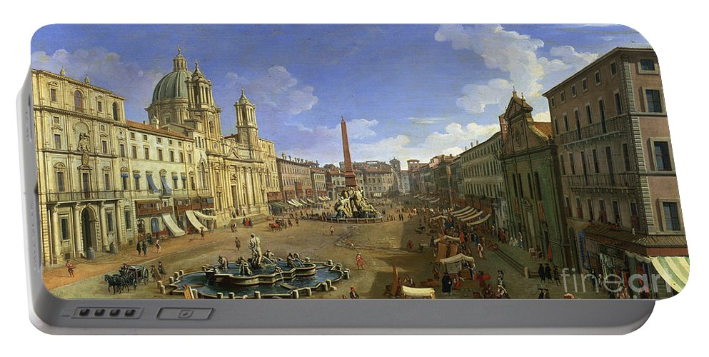 Rome Portable Battery Charger featuring the painting View Of The Piazza Navona by Canaletto