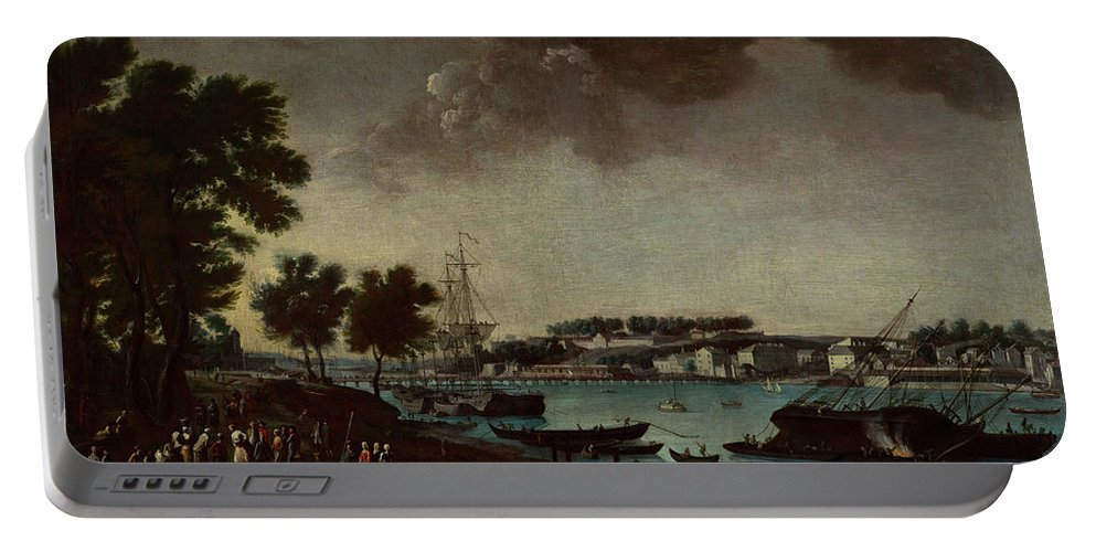 View Of The Town And Port Of Bayonne From The Pathways Of Boufflers Portable Battery Charger featuring the painting View Of The Town And Port Of Bayonne by MotionAge Designs