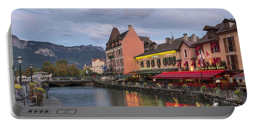 View Of Thiou River In Annecy Portable Battery Charger featuring the photograph View Of Thiou River In Annecy by Yefim Bam