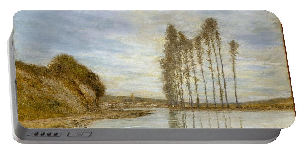 Nature Portable Battery Charger featuring the painting View On The Seine, Harp Of The Winds , Homer Dodge Martin by Artistic Panda