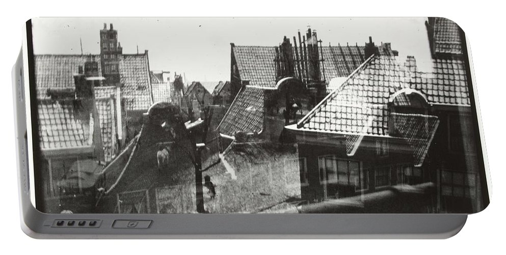 Nature Portable Battery Charger featuring the painting View Over Rooftops In Amsterdam George Hendrik Breitner C 1890  . 1910 by Artistic Panda