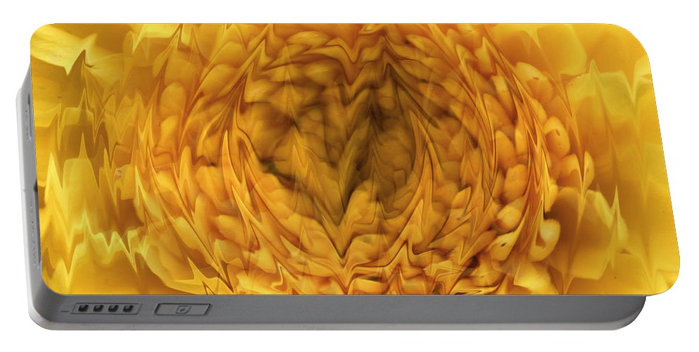 Digital Art Photograph Photography Flower Yellow Mum Plant Wild Portable Battery Charger featuring the photograph View Within by Shari Jardina