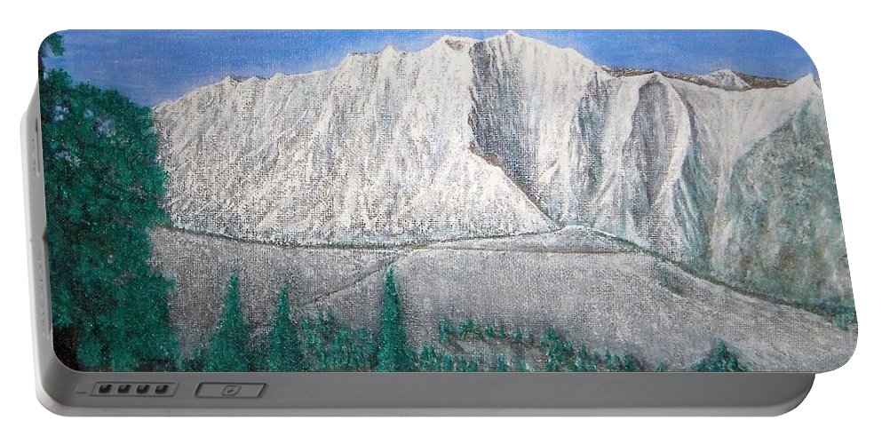 Snow Portable Battery Charger featuring the painting Viewfrom Spruces by Michael Cuozzo