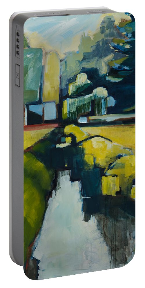 Contemporary Landscape Portable Battery Charger featuring the painting Viewpoint by Michele Norris