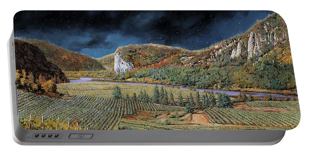 Vineyard Portable Battery Charger featuring the painting Vigne Nella Notte by Guido Borelli