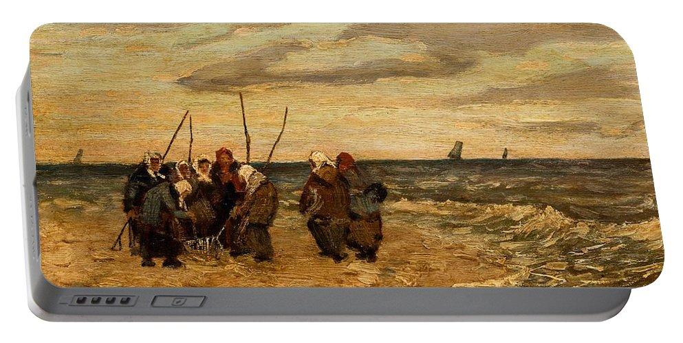 Man Portable Battery Charger featuring the painting Viktor Ivanovich Zarubin Russian 1866 1928 Fisherwomen In Normandie by Artistic Panda
