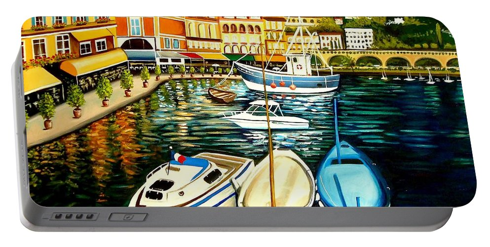 Landscape Portable Battery Charger featuring the painting Villa Franche by Elizabeth Robinette Tyndall