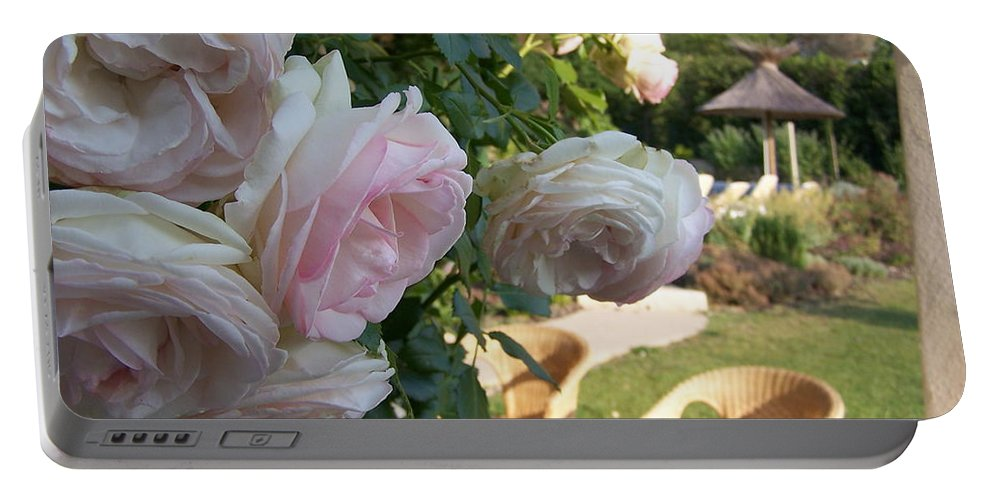 Roses Portable Battery Charger featuring the photograph Villa Roses by Nadine Rippelmeyer