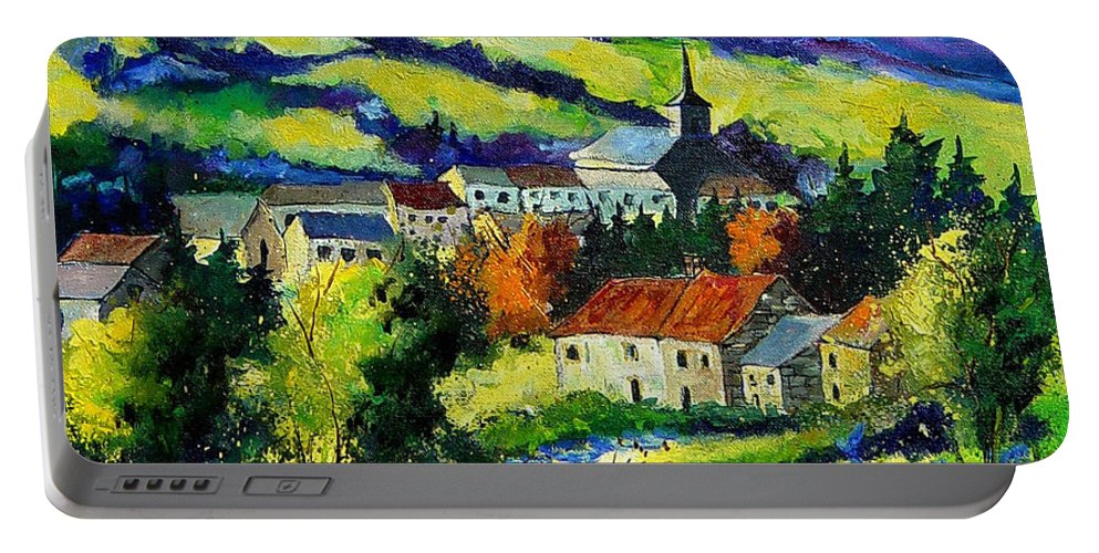 Landscape Portable Battery Charger featuring the painting Village And Blue Poppies by Pol Ledent