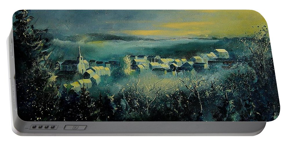 Village Portable Battery Charger featuring the painting Village In A Misty Morning by Pol Ledent