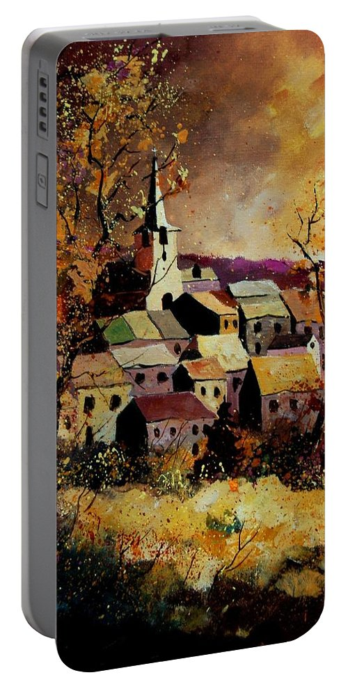 River Portable Battery Charger featuring the painting Village In Fall by Pol Ledent