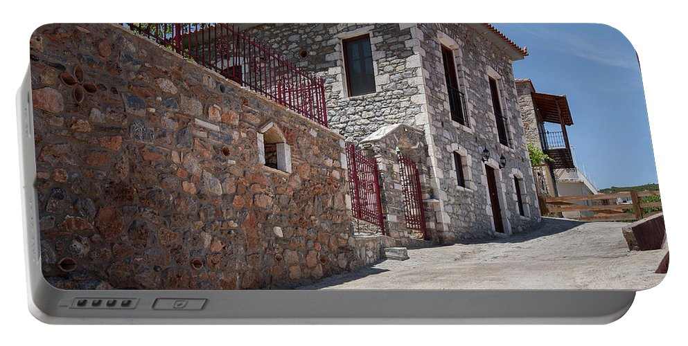 Greece Portable Battery Charger featuring the photograph Village In Greece by Al Poullis