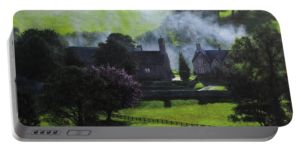 Village Portable Battery Charger featuring the painting Village In North Wales by Harry Robertson