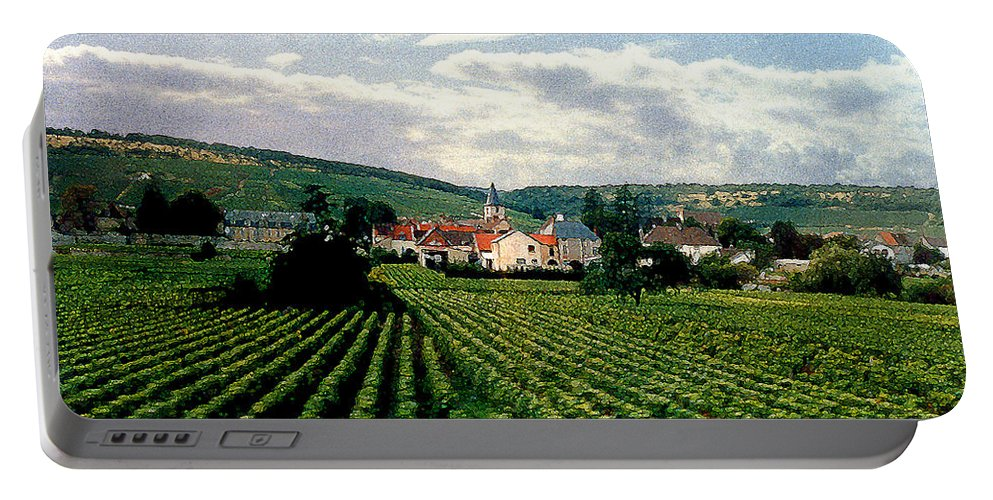 Vineyards Portable Battery Charger featuring the photograph Village In The Vineyards Of France by Nancy Mueller