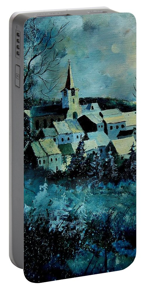 River Portable Battery Charger featuring the painting Village In Winter by Pol Ledent