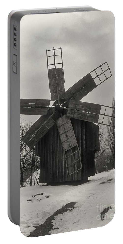 Dimitrie Gusti National Village Museum Bucharest Romania Muzeul Satului Windmill Windmills Structure Structures Architecture Snow Winter Black And White Sepia Portable Battery Charger featuring the photograph Village Museum - Muzeul Satului 3 by Bob Phillips