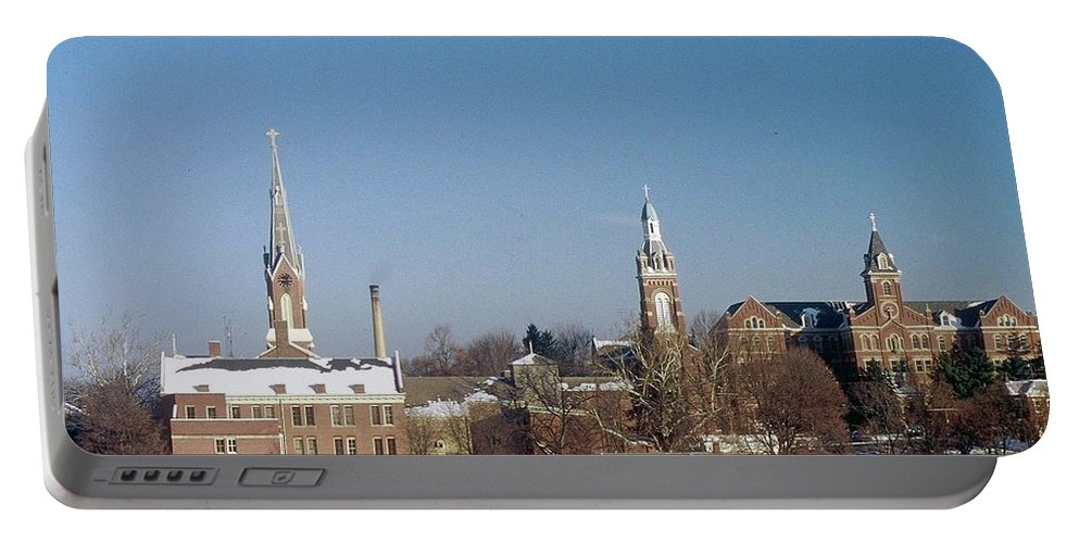 Oldenburg Indiana Portable Battery Charger featuring the photograph Village Of Spires by Gary Wonning