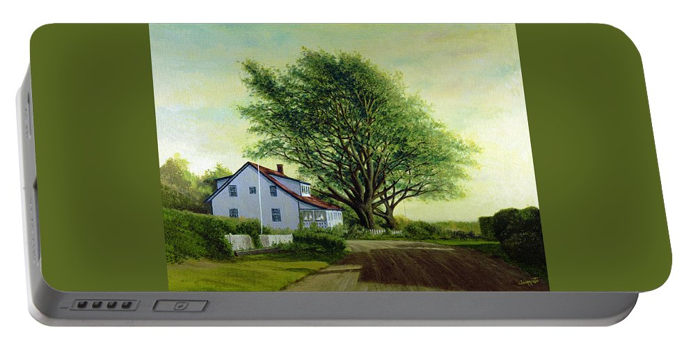 Portable Battery Charger featuring the painting Village Road Orient 16x20 by Tony Scarmato