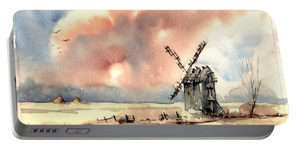 Village Portable Battery Charger featuring the painting Village Scene Vi by Suzann Sines
