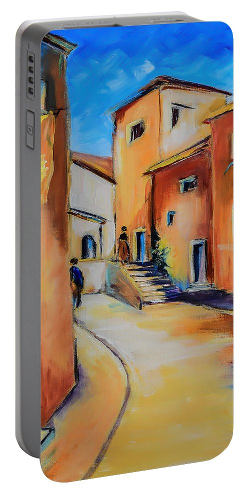 Mediterranean Portable Battery Charger featuring the painting Village Street In Tuscany by Elise Palmigiani