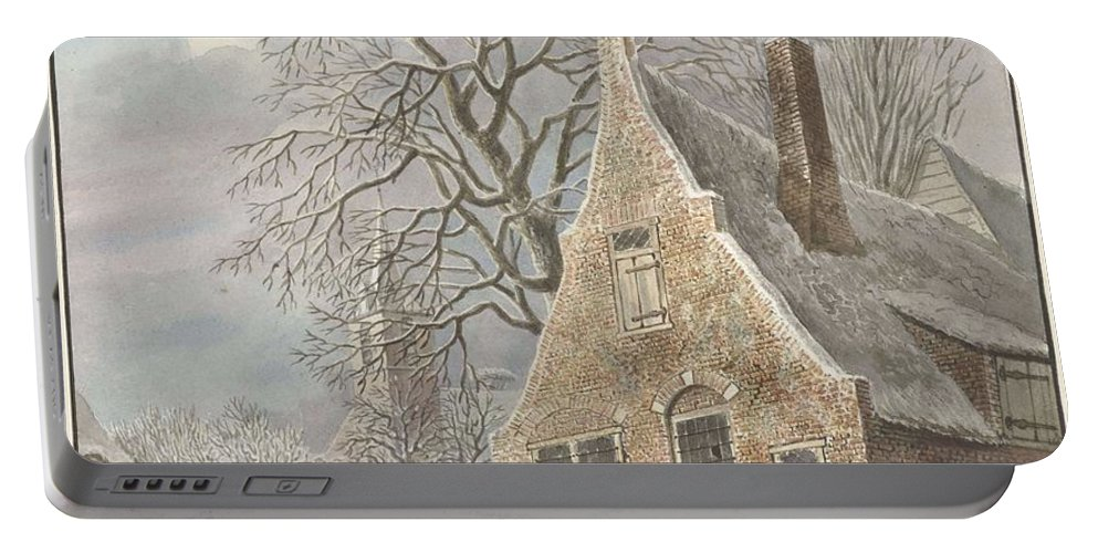 Nature Portable Battery Charger featuring the painting Village Under Snow, Johannes Christiaan Janson, 1773 - 1823 by Artistic Panda