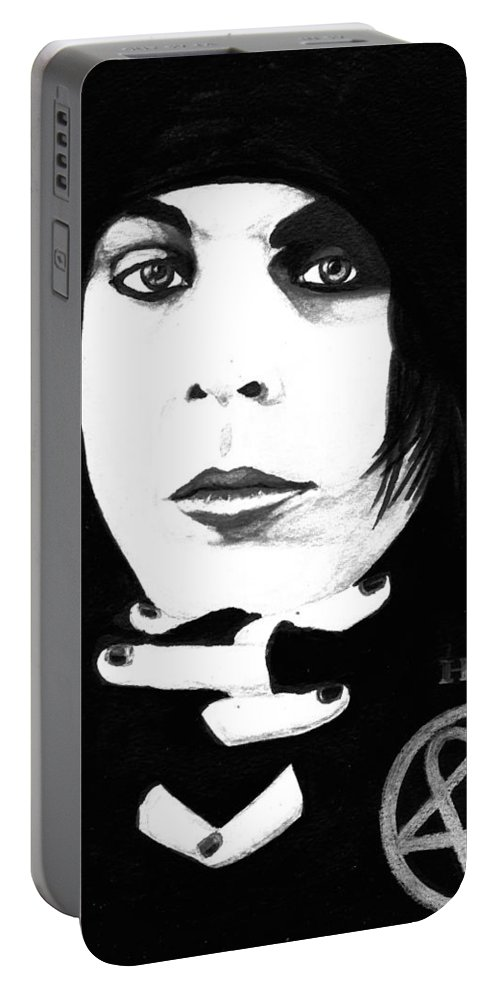 Ville Valo Portable Battery Charger featuring the painting Ville Valo Portrait by Alban Dizdari