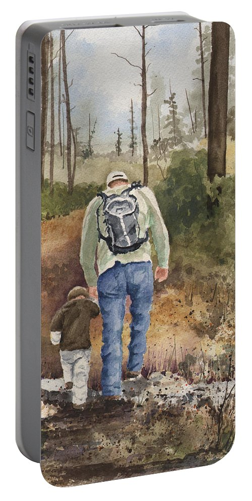 Walk Portable Battery Charger featuring the painting Vince And Sam by Sam Sidders