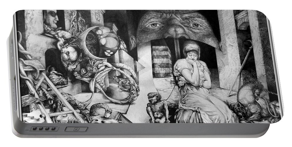 Surrealism Portable Battery Charger featuring the drawing Vindobona Altarpiece IIi - Snakes And Ladders by Otto Rapp