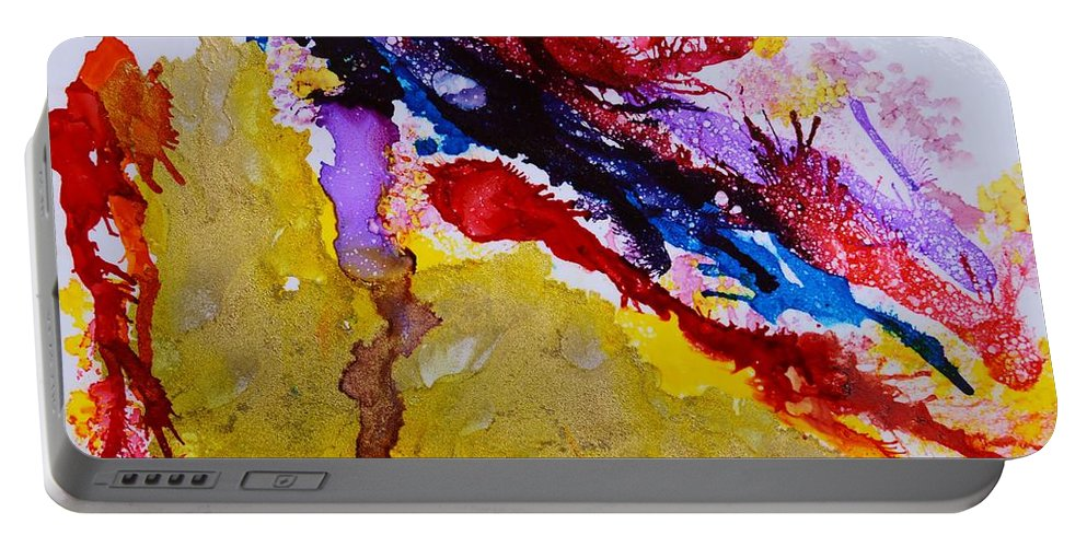 Vines And Glow Abstract Portable Battery Charger featuring the painting Vines And Glow Abstract by Warren Thompson