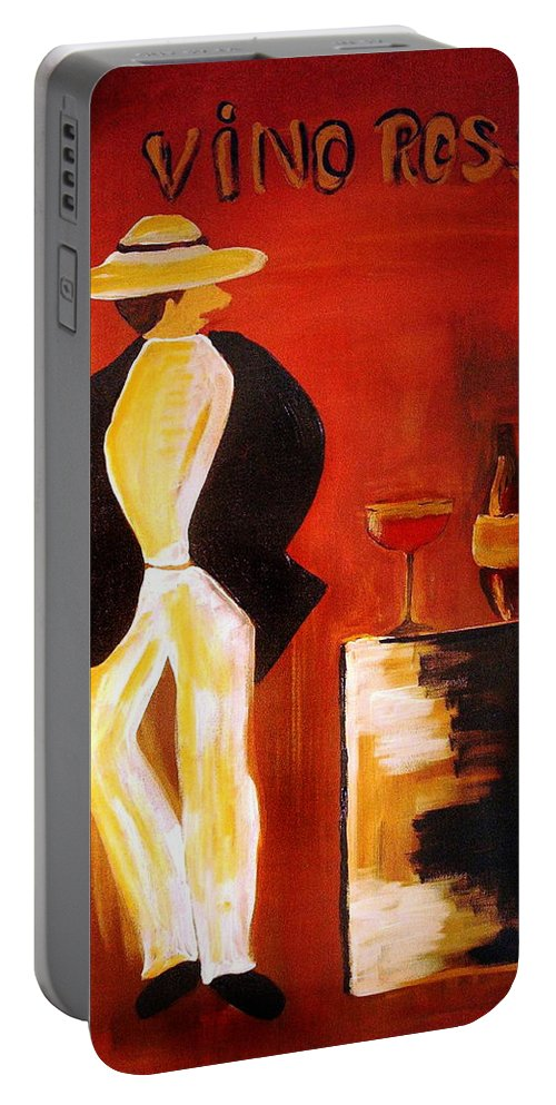 Italian Portable Battery Charger featuring the mixed media Vinorosso by Helmut Rottler