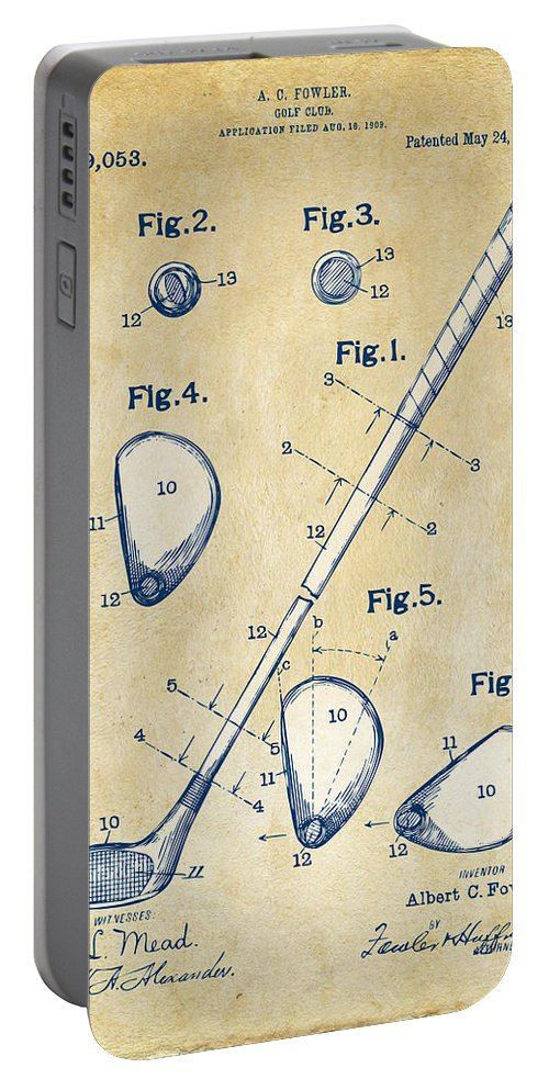 Golf Portable Battery Charger featuring the digital art Vintage 1910 Golf Club Patent Artwork by Nikki Marie Smith