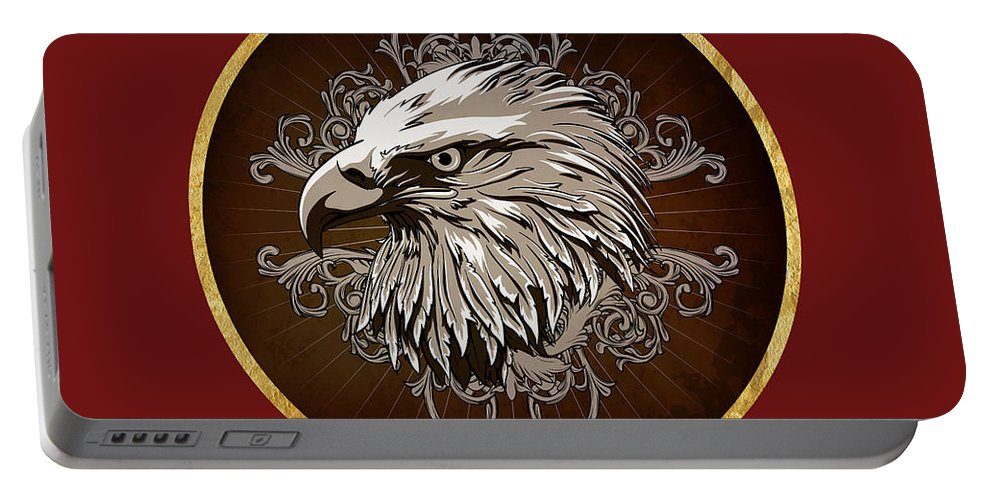 American Bald Eagle Portable Battery Charger featuring the painting Vintage American Bald Eagle by Elaine Plesser