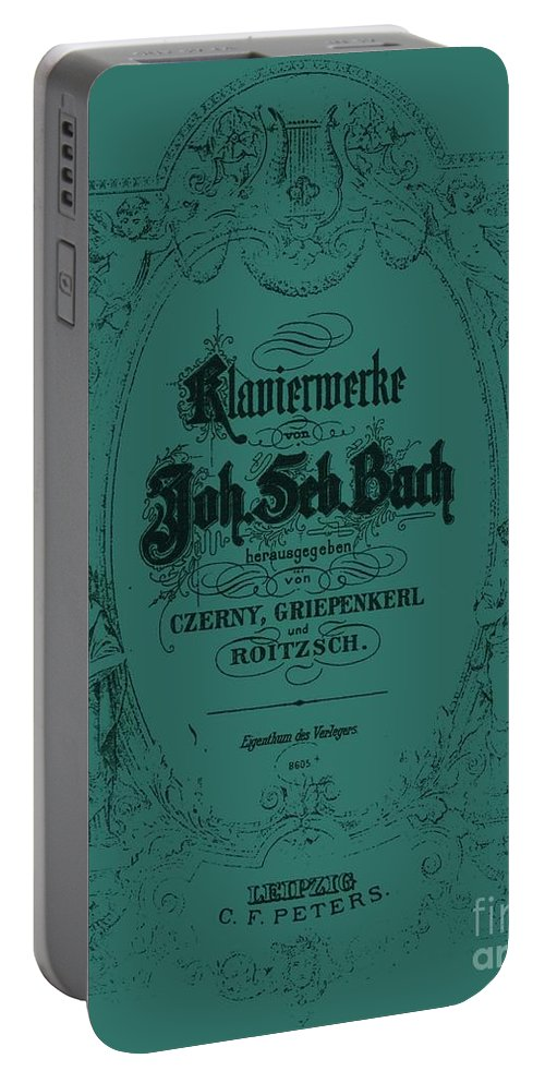 Seafoam Portable Battery Charger featuring the digital art Vintage Bach Piano Book Cover by Sara Adams