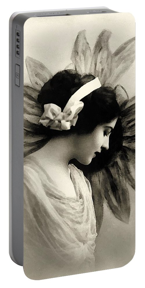 Vintage Portable Battery Charger featuring the painting Vintage Beauty by Georgiana Romanovna