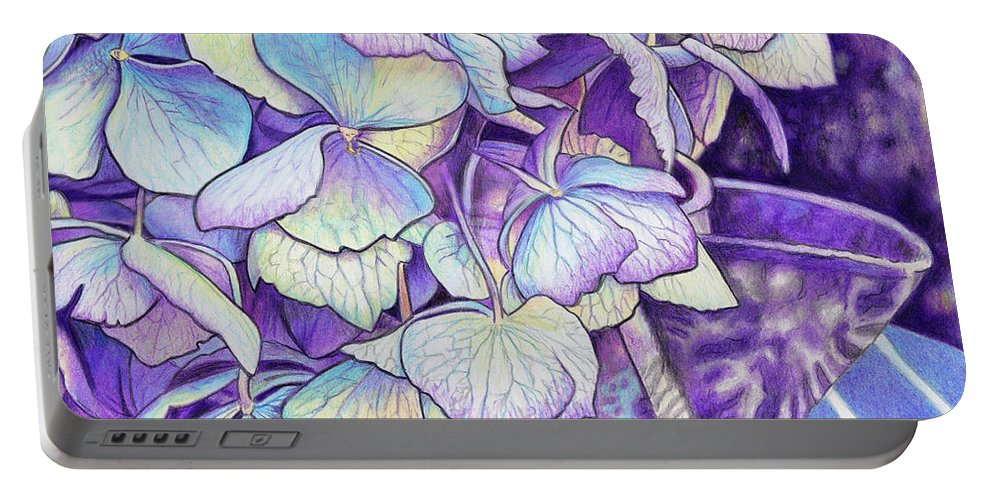 Hydrangea Portable Battery Charger featuring the painting Vintage Blues by Rhonda Dicksion