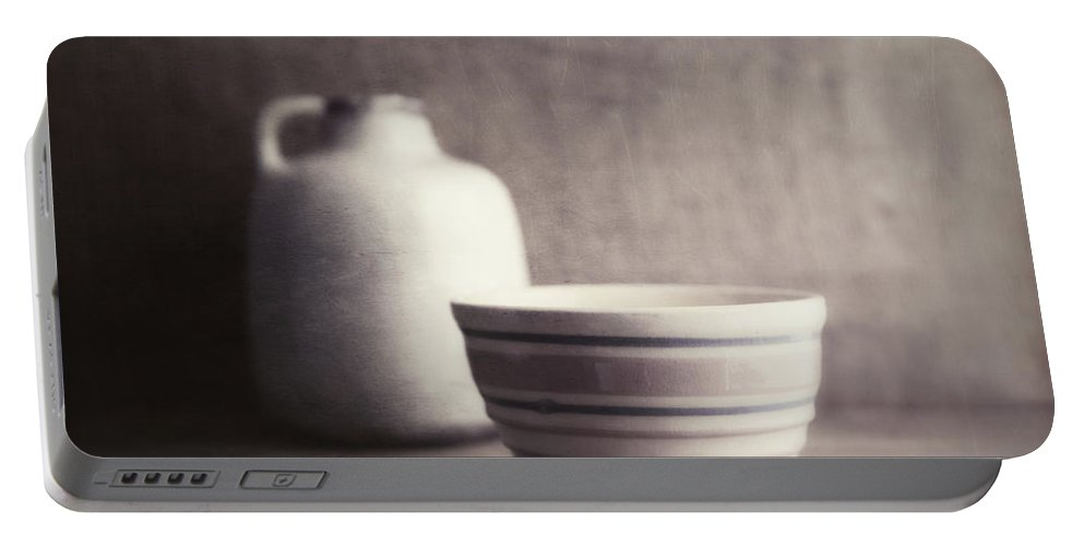 Bowl Portable Battery Charger featuring the photograph Vintage Bowl With Jug by Tom Mc Nemar