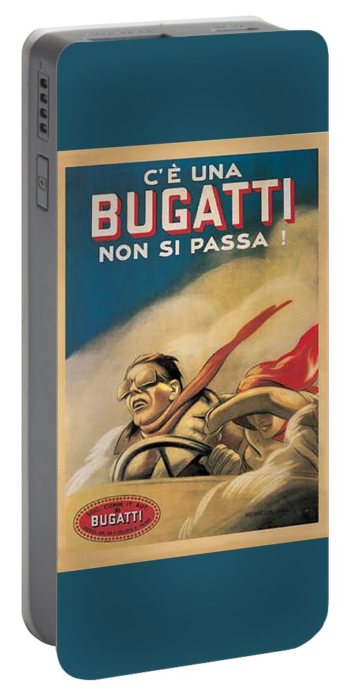 Vintage Bugatti Car Advert Portable Battery Charger featuring the digital art Vintage Bugatti Advert by Marlene Watson