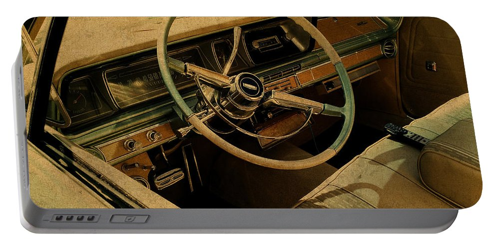 Vintage Portable Battery Charger featuring the mixed media Vintage Cadillac Steering Wheel And Interior by Design Turnpike