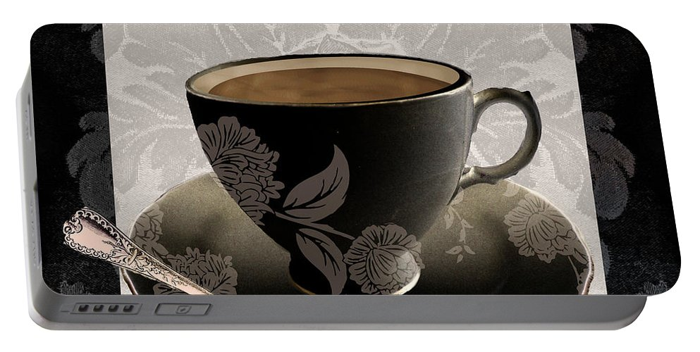 Vintage Coffee Cup Portable Battery Charger featuring the painting Vintage Cafe IIi by Mindy Sommers