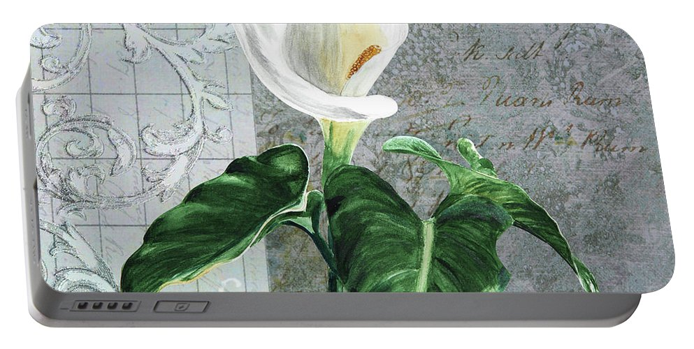 Collage Portable Battery Charger featuring the painting Vintage Calla by Masha Batkova