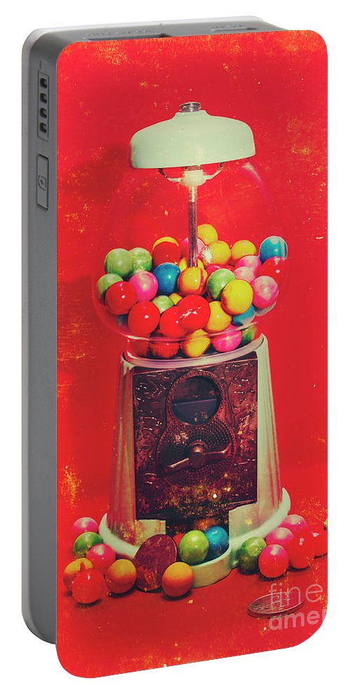 Retro Portable Battery Charger featuring the photograph Vintage Candy Store Gum Ball Machine by Jorgo Photography - Wall Art Gallery