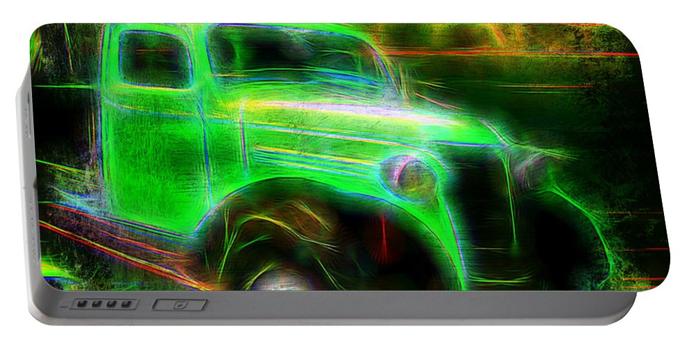 #vintage #old Portable Battery Charger featuring the digital art Vintage Car 4 Neons Edition by Ruahan Van Staden