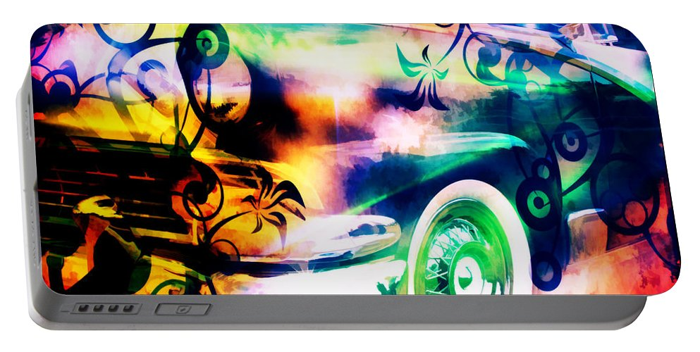 #vintage #car #oldcar #old Portable Battery Charger featuring the digital art Vintage Car 1 Neons Edition by Ruahan Van Staden