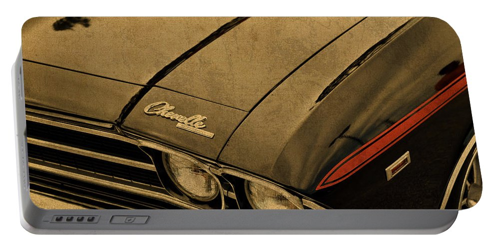 Vintage Portable Battery Charger featuring the mixed media Vintage Chevrolet Chevelle Hood by Design Turnpike