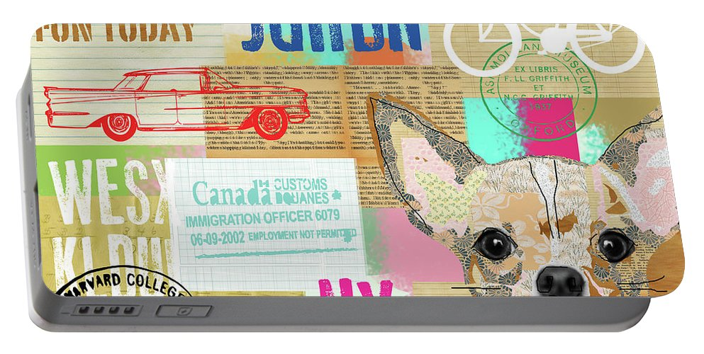 Vintage Collage Chihuahua Portable Battery Charger featuring the mixed media Vintage Collage Chihuahua by Claudia Schoen