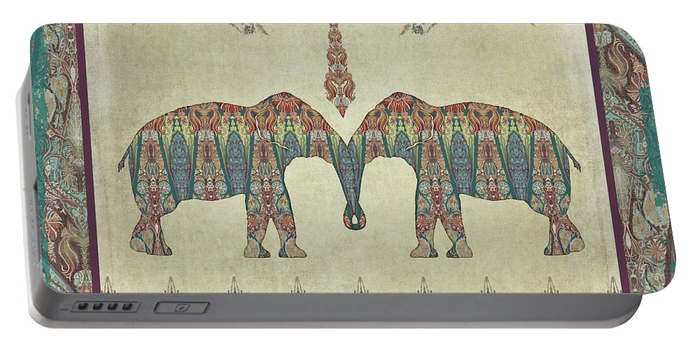 Elephants Portable Battery Charger featuring the painting Vintage Elephants Kashmir Paisley Shawl Pattern Artwork by Audrey Jeanne Roberts