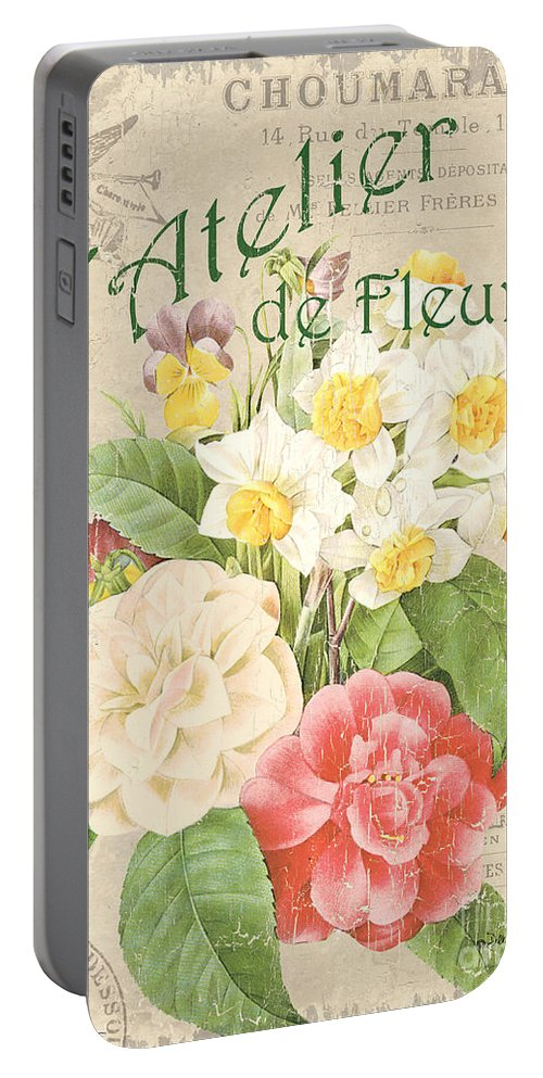 Floral Portable Battery Charger featuring the painting Vintage French Flower Shop 1 by Debbie DeWitt