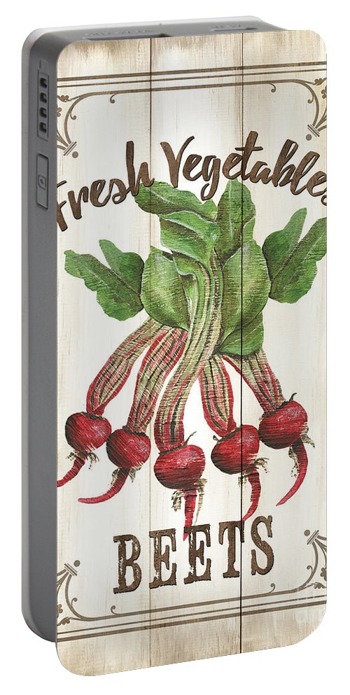 Beets Portable Battery Charger featuring the painting Vintage Fresh Vegetables 1 by Debbie DeWitt